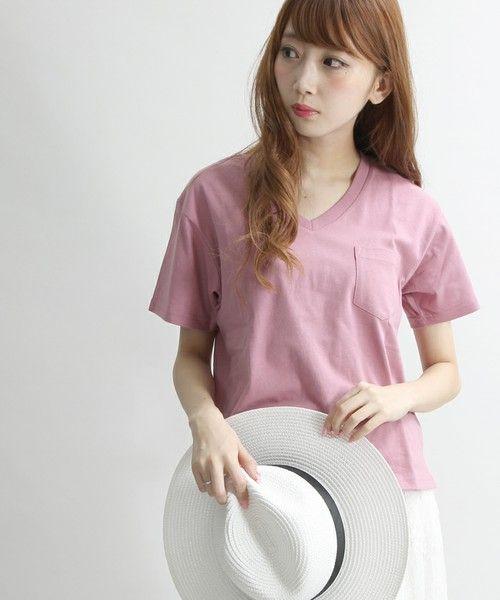 WEGO(ウィゴー)の「WEGO/USAコットンVネックTシャツ(Tシャツ/カットソー)」|パープル