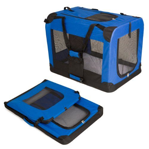 Heavy Duty Dog Travel Crate - Collapsible Blue Dog Carrier (Large (81x58cm)) #Heavy #Duty #Travel #Crate #Collapsible #Blue #Carrier #(Large #(xcm))