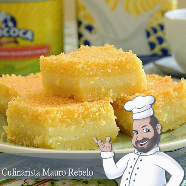 Bolo Cremoso de Fubá  Culinarista Mauro Rebelo   Ingredientes:  4 colheres (sopa) de Manteiga MOCOCA  4 xícaras (chá) de Leite MOCOCA  2 ...