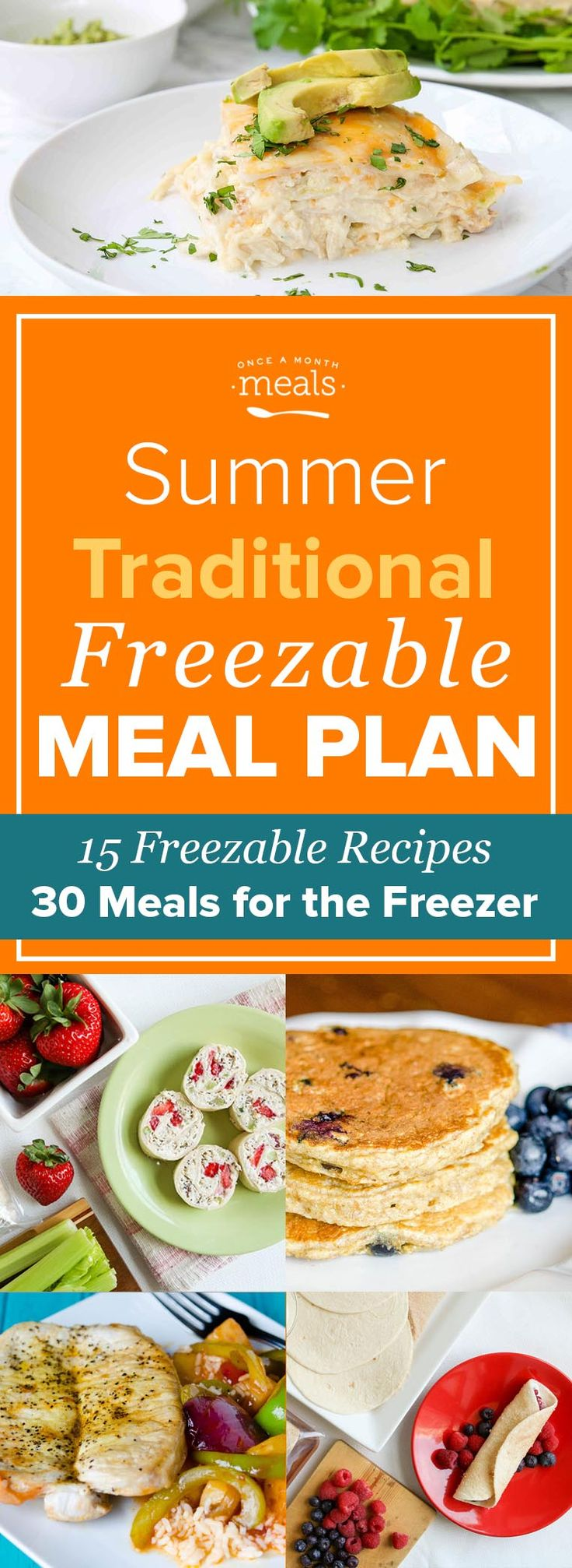 Use our Summer Traditional Freezer Menu to make the most of seasonal produce like blueberries, peppers, and pineapple with a plan of easy freezer meals! via @onceamonthmeals