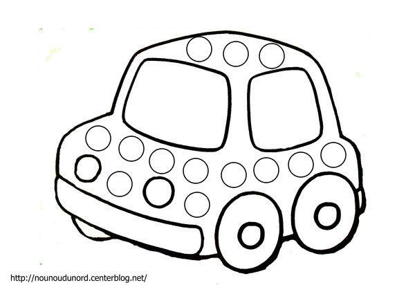 Coloriage à gommettes la voiture dessiné par nounoudunord.