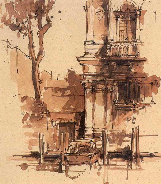 Venice sketch by Neil Watson from his book Seeking Venice