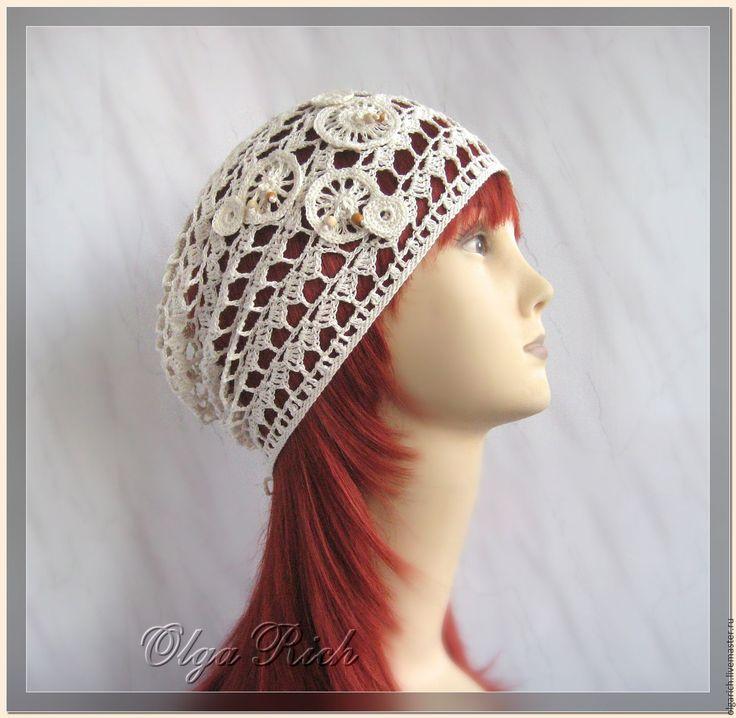 """Купить """"Cap light""""- шапочка из льна - белый, молочный цвет, натуральный белый, летняя шапочка"""