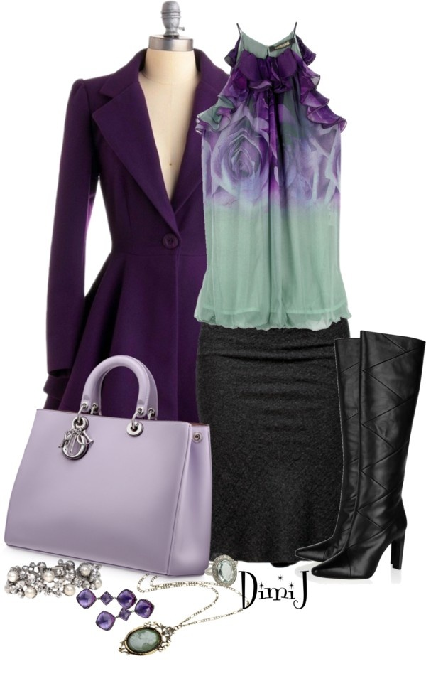 """Purple and aqua ombre sleeveless top with pencil skirt, purple trench, purple purse black boots, heavenly accessories. Great outfit!  """"Office Look"""" by dimij on Polyvore"""