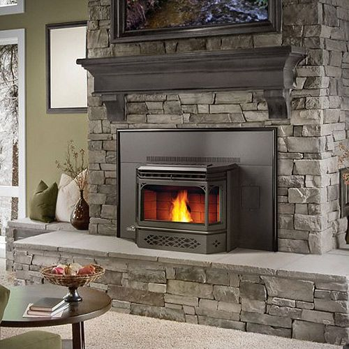 Napoleon Painted Black Pellet Burning Fireplace Insert With Black Door And Black Flashing