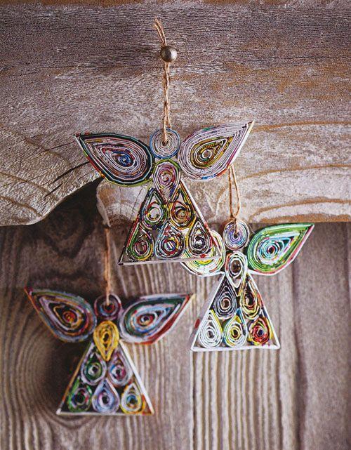 Reaproveitado Anjos Papel Neve Ornament conjunto de 6