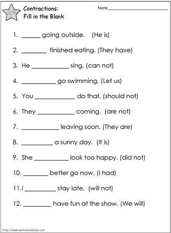 Contractions Worksheet 2 Worksheets