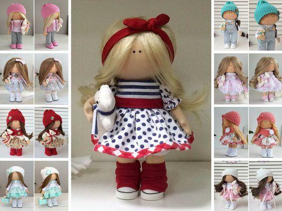 Tilda doll Rag doll Fabric doll Textile doll Muñecas Handmade doll Interior doll Art doll Red doll Soft doll Cloth doll Baby doll by Maria