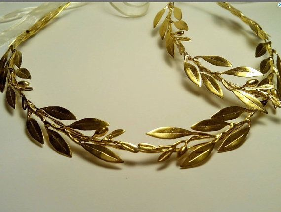 Golden bridal headpieces Raw Bronze branches by VintageLeGrecque
