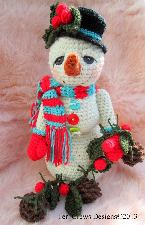 Crochet Pattern Huggable Snowman by Teri Crews Instant Download PDF Format Crochet Toy Pattern