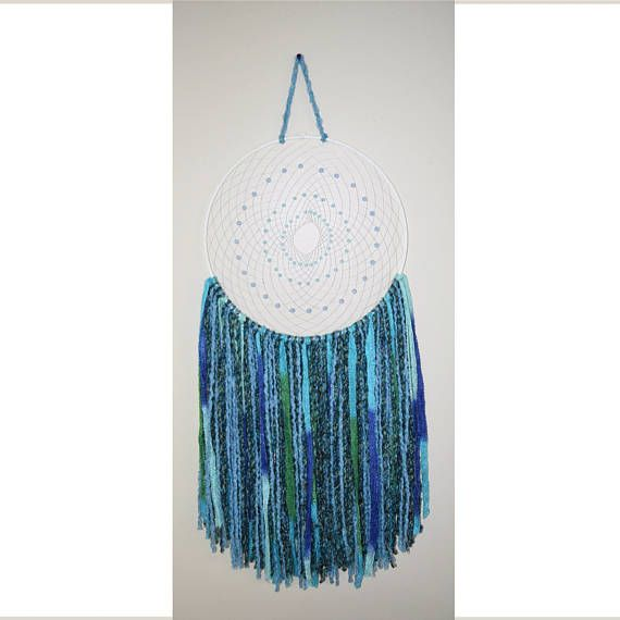 38 Inch Large Blue Dream Catcher Blue Beads Blue Wool Wall