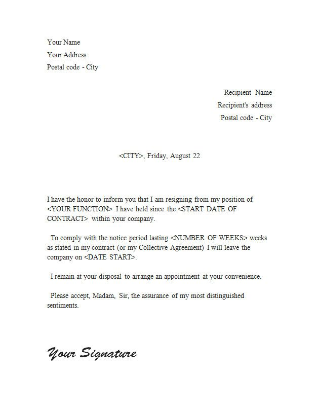 The 25+ best Simple resignation letter format ideas on Pinterest - weeks notice letter