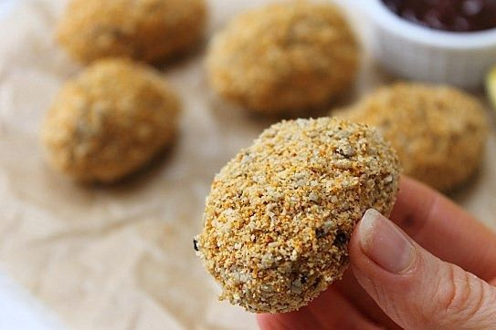 Chicken less nuggets! Chickpea nuggets with a gluten and grain free crumb!