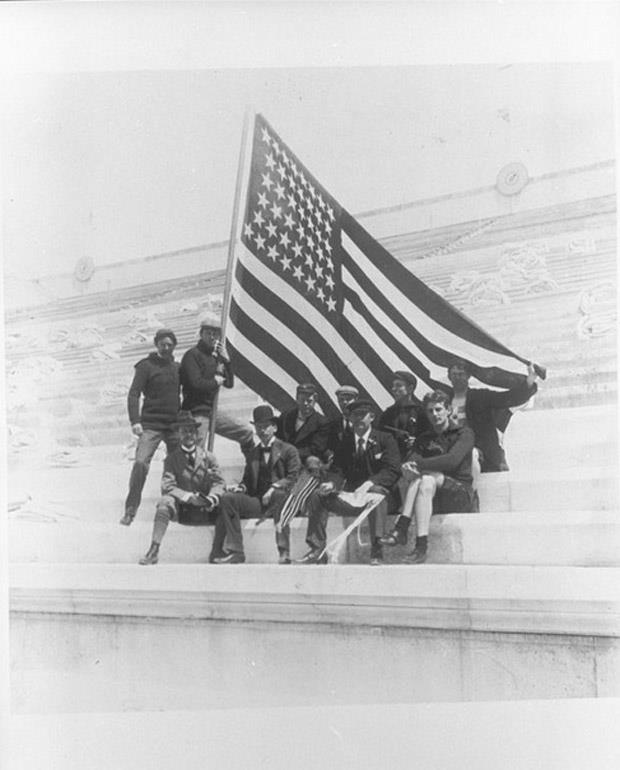 Athens 1896 - The American delegation USA. The American team in the Panathenian stadium.