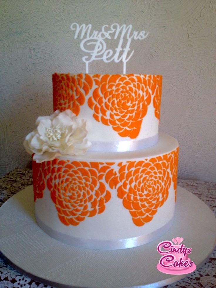 Orange stenciled pattern