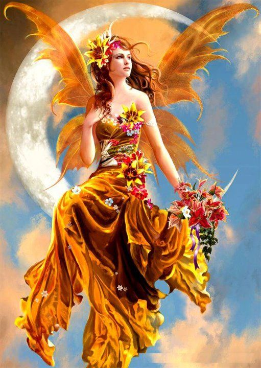 Autumn Fairy with fall leaves, sunflowers: