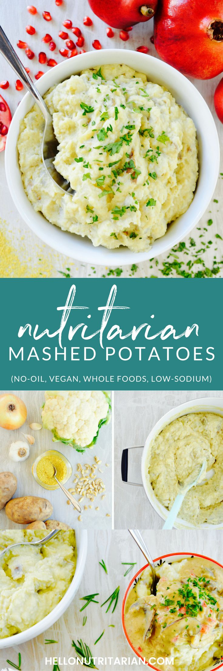 Nutritarian Mashed Potatoes recipe   vegan, oil-free, low-sodium, whole food plant based.  A cleaner alternative to the comfort food classic using cauliflower and cashews to provide richness and creaminess without dairy!  Try this recipe as a healthy Thanksgiving side dish!  Perfect when you're on Dr. Fuhrman's 6 week Eat to Live plan!  Click through for the printable recipe!  xo, Kristen #thanksgivingsidedish #healthythanksgiving #mashedpotatoes #oilfreevegan #wfpbno
