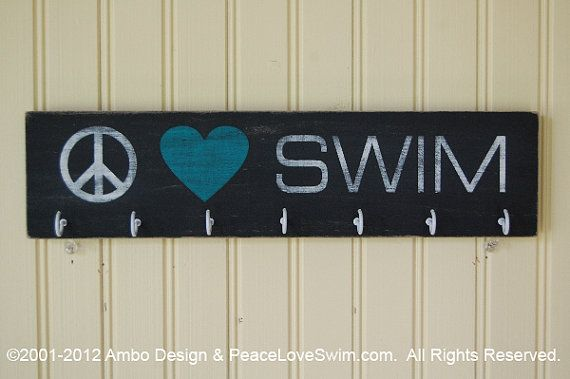 Peace Love Swim Wood Ribbon Display Hanger - Customization & Personalization Available via Etsy