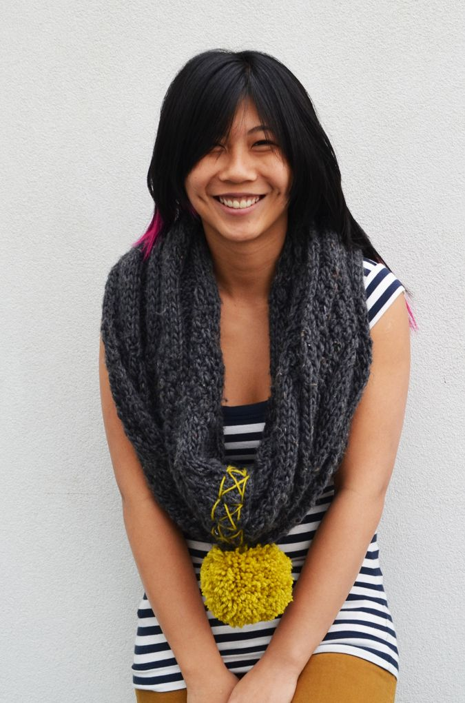 DIY Cowl Scarf and Pom Pom 2