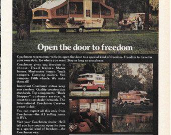 "Vintage Print Ad 1977 Coachmen Recreational Vehicles Open the door to freedom 8"" x 10.75"""