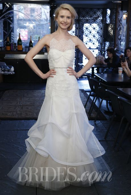 """Brides: Kelima K - Spring 2014. Style 655, """"Whispering"""" strapless silk and organza mermaid wedding dress with an illusion lace high neckline and beaded belt, Kelima K"""