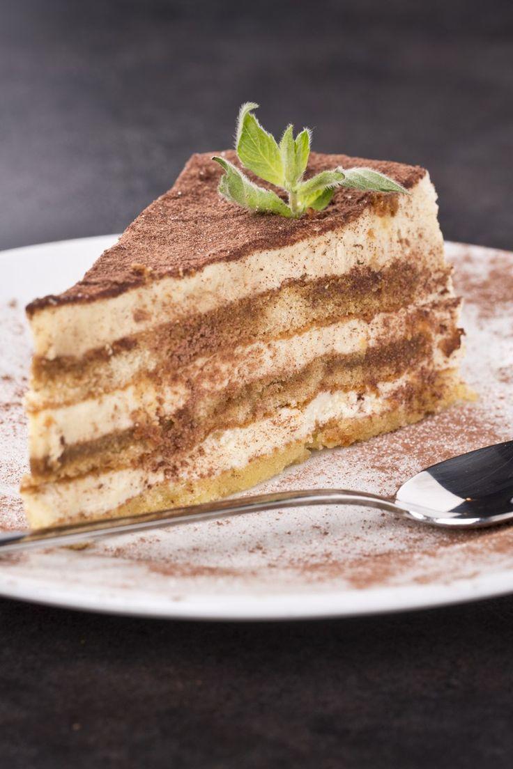 Course(s): Dessert; Ingredients: baking chocolate, coffee, coffee liqueur, coffee powder, heavy cream, mascarpone cheese, powdered sugar, unsweetened cocoa powder, white cake mix