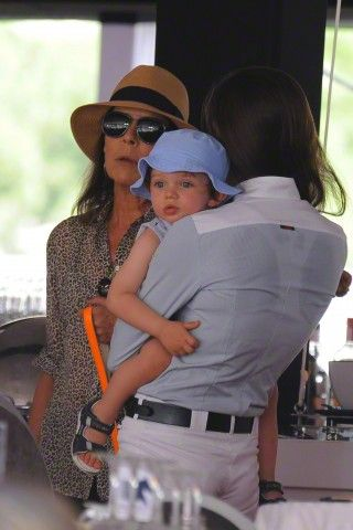 Princess Caroline of Hanover (L) her daughter Charlotte Casiraghi and her grandson Raphael during the 2015 edition of the horse jumping competition as part of the Global Champions Tour on June 26, 2015 in Monaco