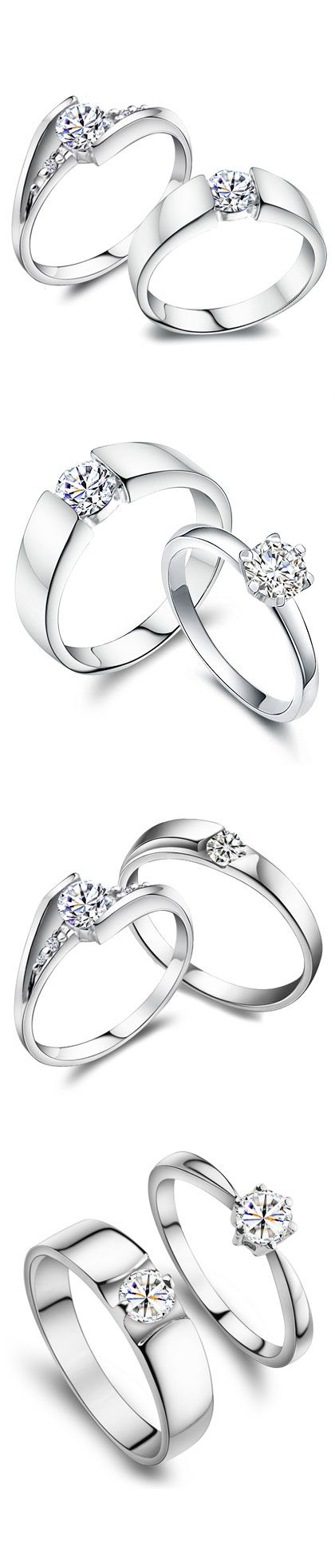 Matching His Hers Promise Rings, Couples Wedding Jewelry Set, Sterling Silver + Cubic Zirconia Diamonds | iDream-Jewelry.Com