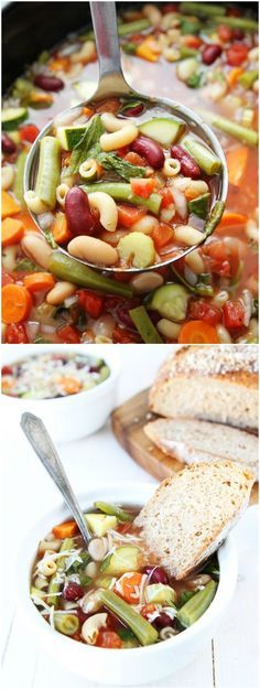 Slow Cooker Minestrone Soup Recipe on twopeasandtheirpod.com Love this easy, healthy, and hearty soup!