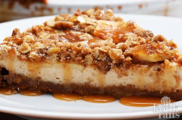 Appelkruimelcheesecake mét caramel! Caramel-appelkruimelcheesecake is echt het beste van twee werelden: appelkruimeltaart en cheesecake met als extra toevoeging de heerlijke toffeesmaak van caramel. Het lijkt misschien een hele moeilijke taart, maar dat is het niet! Lees gauw verder! Dit heb je