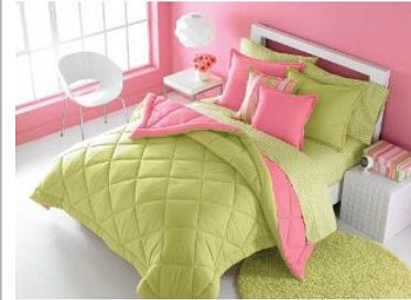 Modern teenage girl lime green and and pink bedroom with a pink and green bedding set and shag area rug