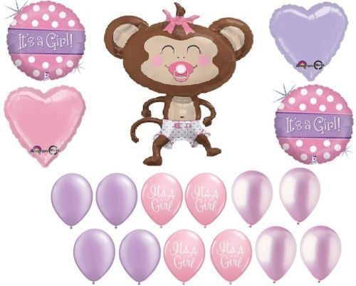 LoonBalloon MONKEY Diaper Pacifier It's a Girl Baby Shower (17) Safari Jungle Balloons Set. #LoonBalloon #MONKEY #Diaper #Pacifier #It's #Girl #Baby #Shower #Safari #Jungle #Balloons