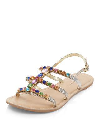 400eb54d3a693 Wide Fit Gold Leather Multi Gem Strap Sandals