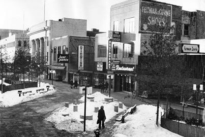 "The Oak Park ""Mall"" January 28, 1976    What an ugly mess that used to be.  So glad they put the streets  back in."