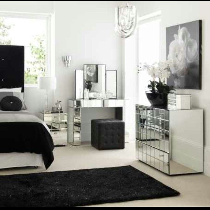 Lush Fab Glam: Home Decor: Go Glam With Modern And Vintage Silver Furniture.  Mirrored Dresser And Vanity In My Bedroom