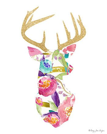 Deer Print, Deer Decor Printable Digital Art Stag Deer Antler Head Wall Art…