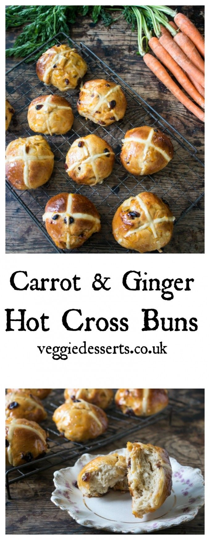 Carrot and Ginger Hot Cross Buns   Veggie Desserts Blog These carrot and ginger hot cross buns are packed full of flavour – and veggies! They're soft, fluffy and taste of gingery carrot cake. Perfect for springtime and Easter. veggiedesserts.co.uk