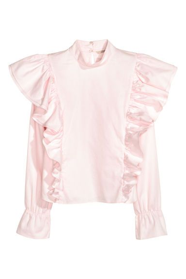 Flounced cotton blouse - Light pink - Ladies | H&M GB