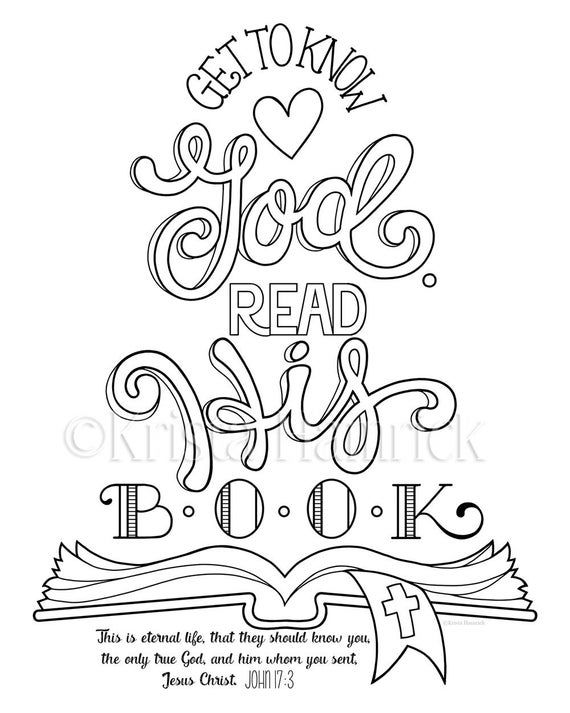 Get To Know God Read His Book Coloring Page 8 5x11 Bible Etsy Bible Coloring Pages Bible Verse Coloring Page Bible Verse Coloring