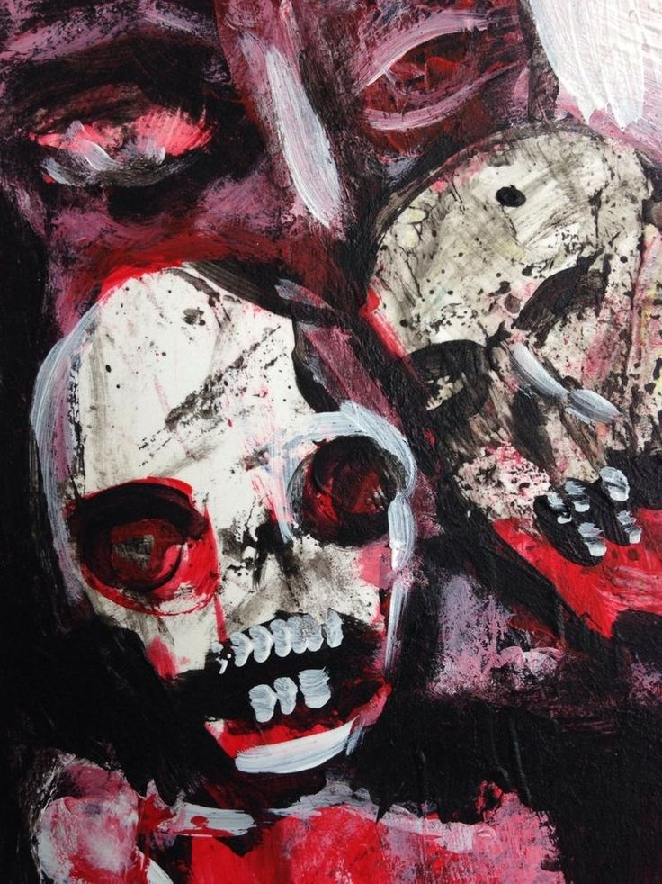 """EBOLA ZOMBIES #3 of 66"" Acrylic original  ,ACEO  jack larson 3.5""x2.5""  #Abstract"