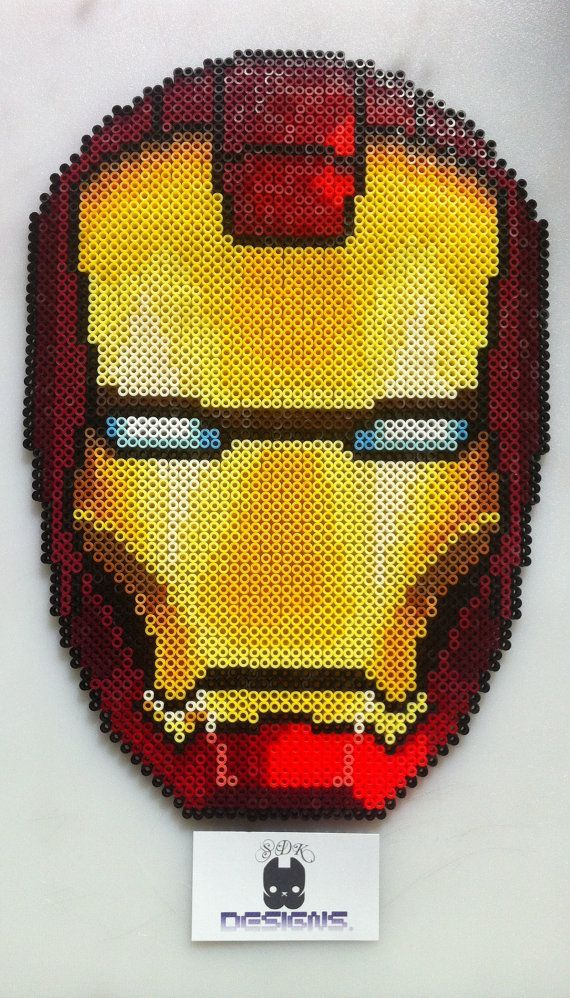 Iron Man Helmet Marvel Avengers Perler Bead Sprite Wall Art by SDKD