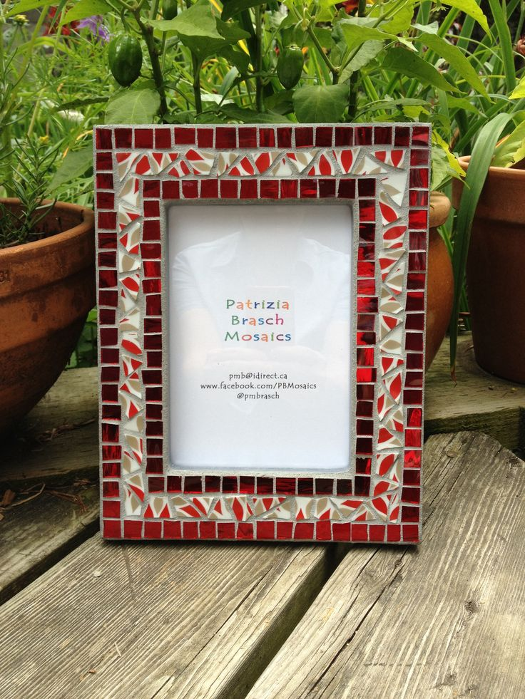 Sold. Picture frame in red mirror glass and hand-cut porcelain. Patrizia Brasch Mosaics www.patriziabrasch.com