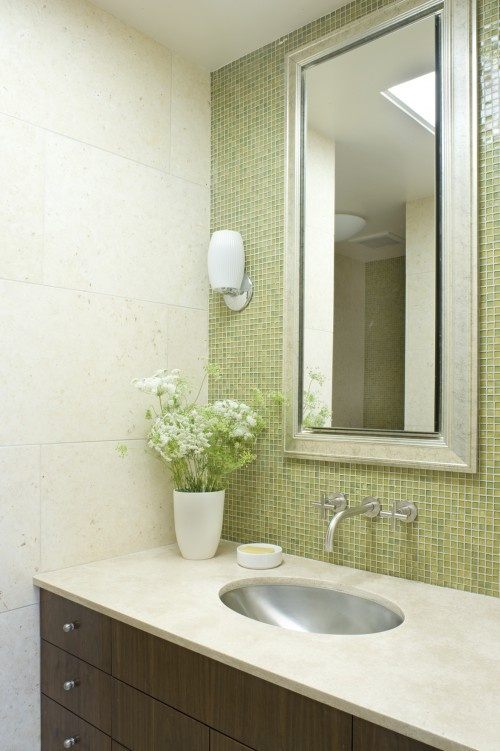 the glass mosaic tile behind the mirror is beautiful and adds a little bling to the - Glass Tile Backsplash In Bathroom