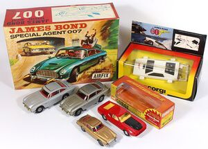 Collection of James Bond tin Plate and Corgi Diecast Vehicles