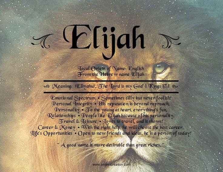 Elijah name meaning...emotional spectrum describes him ...