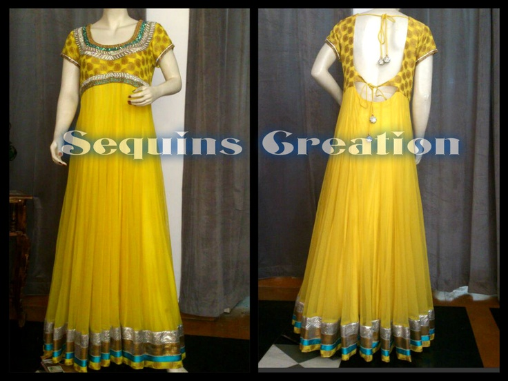 Beautiful Lemony Yellow Long Gown/Anarkali which can be customzied in any colour and size. Follow us on facebook: Sequins Creation