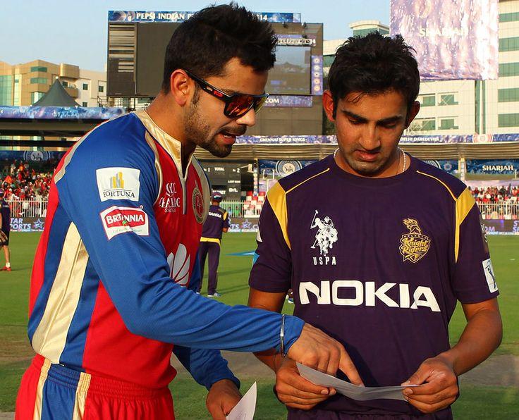Virat Kohli and Gautam Gambhir at the toss, Royal Challengers Bangalore v Kolkata Knight Riders, IPL 2014, Sharjah, April 24, 2014