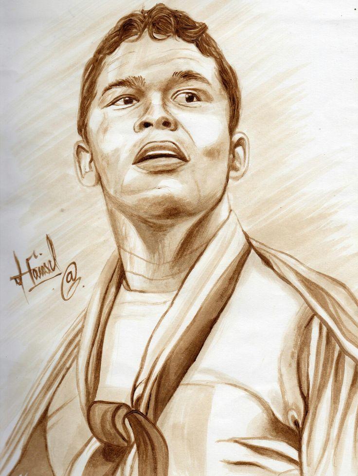 Retrato hecho con Café del Futbolista Colombiano Carlos Bacca