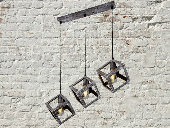 3 <b>Cubes</b> Iron <b>Pendant Light</b> Fixture Industrial Chandelier Hanging ...