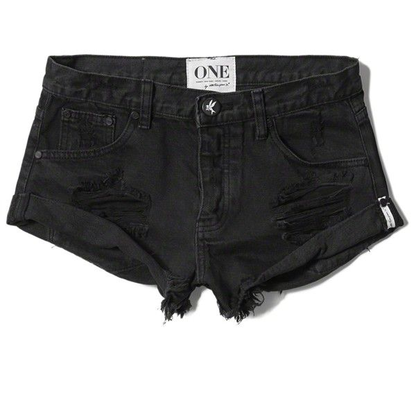 Abercrombie & Fitch One Teaspoon Bandits Shorts ($110) ❤ liked on Polyvore featuring shorts, bottoms, pants, destroyed black, abercrombie & fitch, distressed shorts, loose shorts, black shorts and black ripped shorts